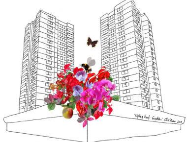 Drawing of two blocks of flats with colourful sweet peas in the foreground